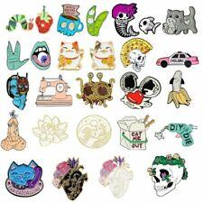 Cartoon Enamel Pins Brooch Flower Cat Milk Lapel Pin Skull Collection Punk Badge