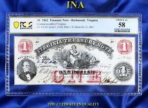 INA Virginia Treasury $1 Oct 21 1862 Unc Civil War Choice AU PCGS 58 Rarer Date