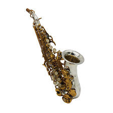 Eastern music Intermediate Curved Soprano Saxophone silver plated body gold key