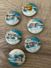 """Vintage Lot Of 6 Asian Chinese/Japanese? Hand Painted Porcelain Buttons 1"""""""
