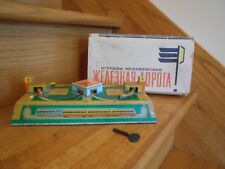 Train USSR Toy Tin Wind-Up 1950s with key and original box cute *free shipping!*