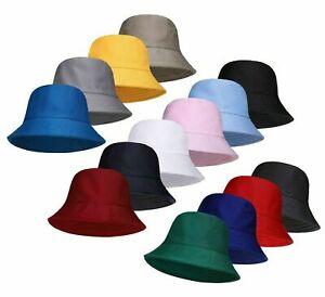 100% Cotton Adults Bucket Hat Summer Fishing Beach Festival Sun Cap One Size