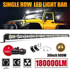 "30Inch LED Light Bar Single Row Flood&Spot Beam Combo Fog Off-road Truck ATV 32"""