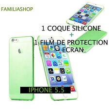 Housse étui pochette coque transparent vert gel silicone iphone 6 plus + 1 film
