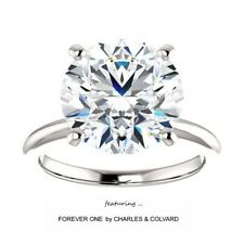 5.00 Carat Moissanite Forever One Solitaire Ring 14KGold (Charles&Colvard)