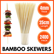2400 X Wooden Skewers BULK 25cm X 4mm | BBQ Meat Kebab Bamboo Skewer Party Stick