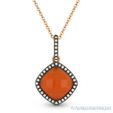 2.30ct Red Agate / White Topaz Doublet & Diamond 14k Rose Gold Necklace Pendant