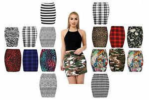 New Ladies Womens Printed Mini Skirt Stretch Elasticated Jersey Short Mini Skirt