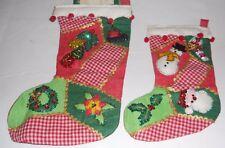 2 Vintage Handmade Christmas Stocking Appliques Santa Snowman Bells Sequins ++