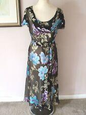 FAB COUNTRY CASUALS CC BLACK MIX SILK DEVOUR MAXI WITH BELT DRESS Size 14 Petite