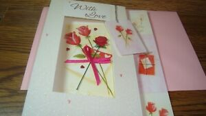 With LOVE : Any OCCASION & Mothers Day 3D Handmade Card ROSE Gift TAG Ribbon