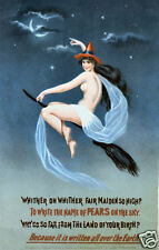 Witch on a Broomstick Pears Vintage art poster print Home Decor Wall Hangings