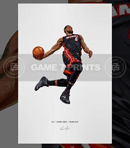 Lebron James Miami Heat Basketball Illustrated Print Poster Art