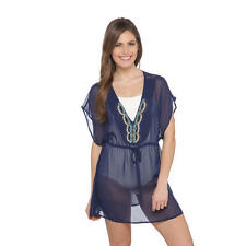 TROPICAL ESCAPE L Medieval Blue Embellished Swim Cover-up NEW