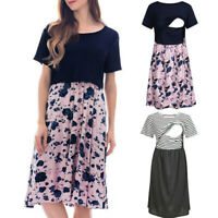 Women Maternity Summer Stripe Floral Splice Mom Nursing Short Sleeve Short Dress