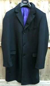 CHARLES TYRWHITT MENS BLACK WOOL & CASHMERE CROMBIE STYLE COAT SIZE SMALL