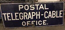 Antique Porcelain Postal Telegraph Cable office sign rare original1900s