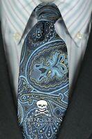 Lord R Colton Studio Tie - Navy & Steel Blue Paisley Woven Necktie - $95 Retail