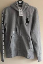 BNWT Mens Polo Ralph Lauren Big Logo Pony Full Zip Hoodie/con Capucha Gris Talla S