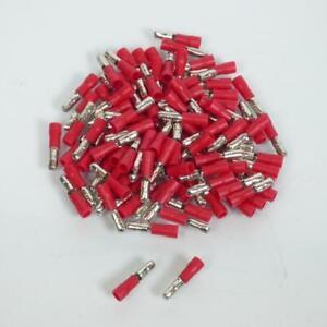 100 Schote Stecker Elektrisch Rund Stecker Ø4mm Mit Isolator Rot 0.25-1.5mm ²