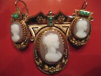 Antique Victorian Hardstone Carnelian 15K Cameo & Earrings Turquoise Accents