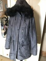 M&S Marks & Spencer Ladies Grey Hooded Faux Fur Trim Parka Anorak Jacket Size 14