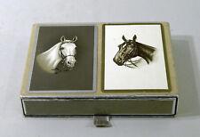 ANCIEN COFFRET DE 2 JEUX DE 54  CARTES , motif chevaux, marque Congress, bridge