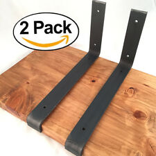 "2 Pack - 11.25""x6"" Lip Shelf Brackets Angle Metal Shelve Modern Industrial Iron"