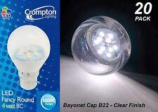 20 x Clear LED 4W Daylight Light Globes / Bulbs Bayonet B22 5000K Cool White