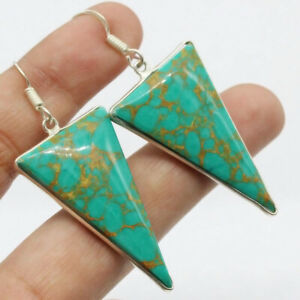 """Copper Turquoise 925 Silver Plated Handmade Gemstone Earrings 2.1"""" Ethnic Gift"""