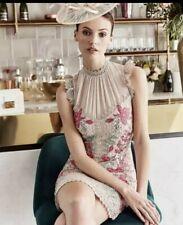 KAREN MILLEN 'THE ATELIER' NUDE BEIGE FLORAL EMBROIDERED & LACE DRESS UK 14 NEW