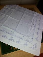 Blaudruck Tischdecke Mitteldecke alt Luxemburg Damast 80 x 80 cm  NEU