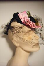 Vtg 1940'S Valerie Mode New York Tilt Hat W/Pink Cloth Flowers & Decoration Veil