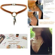 Suede Choker Necklace For Women, Native American Indian Jewelry Bohemian Feather
