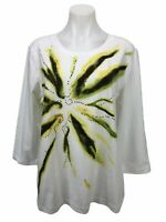 Additions By Chico's 2 Women's Size L White Top Embellished Shirt 3/4 Sleeve