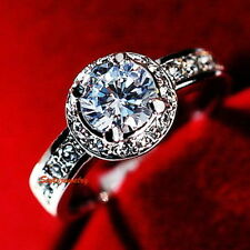 18k White Gold Plated Crystal Silver Lady's Wedding Engagement Ring Size 11 R143