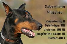 DOBERMANN - A4 Metall Warnschild SCHILD Hundeschild Alu Türschild - DBM 32 T4