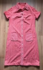 Handmade 70s Vintage Red Check Polyester Shirt Dress Size L Large