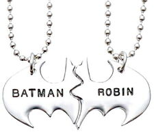 Personalized Friendship Batman Robin Twin Pendant Best Friend Necklace Valentine