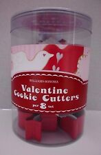 """Williams Sonoma Valentine's  Cookie Cutters Set of 8 Heart Cupid Dove 2002"""" NEW"""