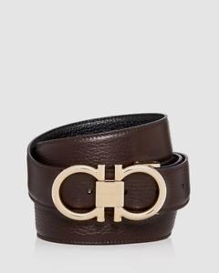 $450 Salvatore Ferragamo Men Black Brown Reversible Gold Gancini Leather Belt 32