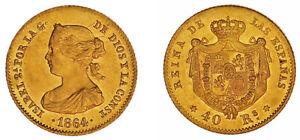 40 Gold REALES / Oro. Isabella II - Isabella II° Madrid 1864. Au / SPL