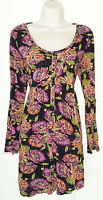 Fat Face~Blue orange pink floral tunic long sleeves 100% viscose-Size 14