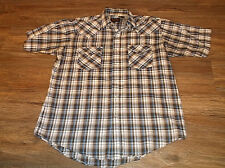 Men's PLAINS Short Sleeve Pear Snap Western Shirt Sz Medium M Poly Blend