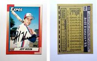 Jeff Huson Signed 1990 Topps #72 Card Montreal Expos Auto Autograph