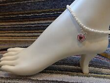 beads anklet stretchy tibetan silver Apple heart alloy charm ankle bracelet