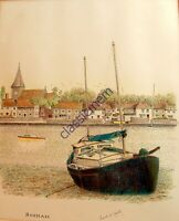 Vintage Bosham Quay Sussex - A Stunning Pen & Ink Drawing By Frank W Smith 1950s