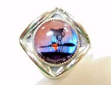 SMALL CHROME SILVER TONE BUTTERFLY WING PICTURE TIE TACK LAPEL PIN SUNSET NIGHT