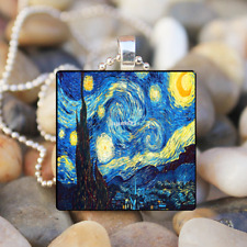 STARRY Night Vincent Van Gogh Art Glass Tile Pendant Necklace Jewelry Christmas