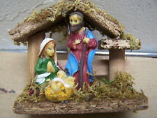 Small One-Piece Tabletop Nativity, Wood with Resin Figures - Mexico